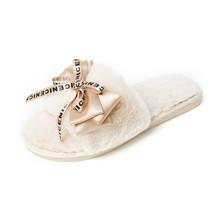 Женские плюшевые домашние тапочки, милая теплая обувь на плоской подошве с бантом-бабочкой из искусственного меха для девушек, женские мехо...(Китай)