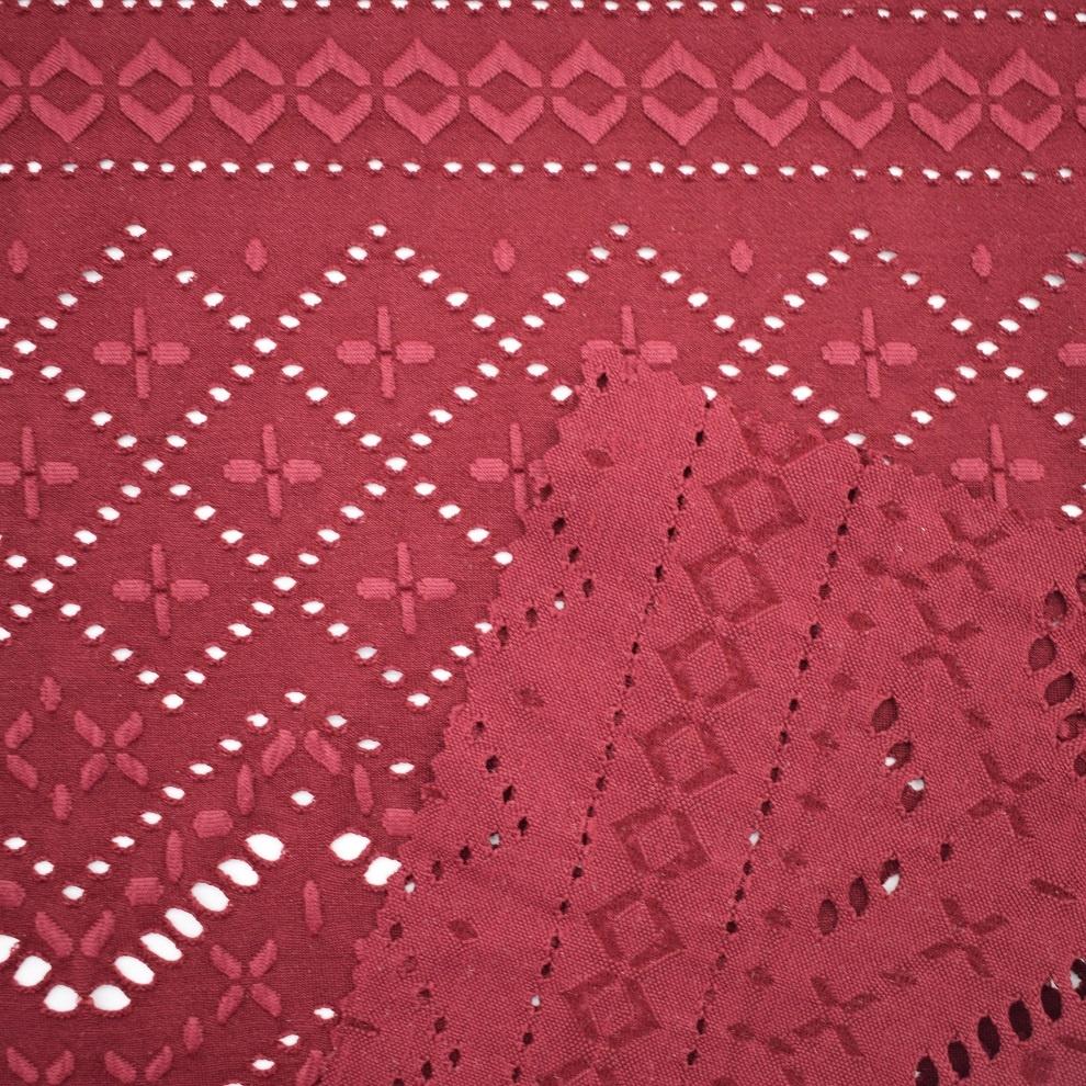 Popular Flowery knitting jacquard stretched mesh fabric for swimwear bikini