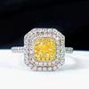 18k white gold 0.380ct natural yellow diamond ring