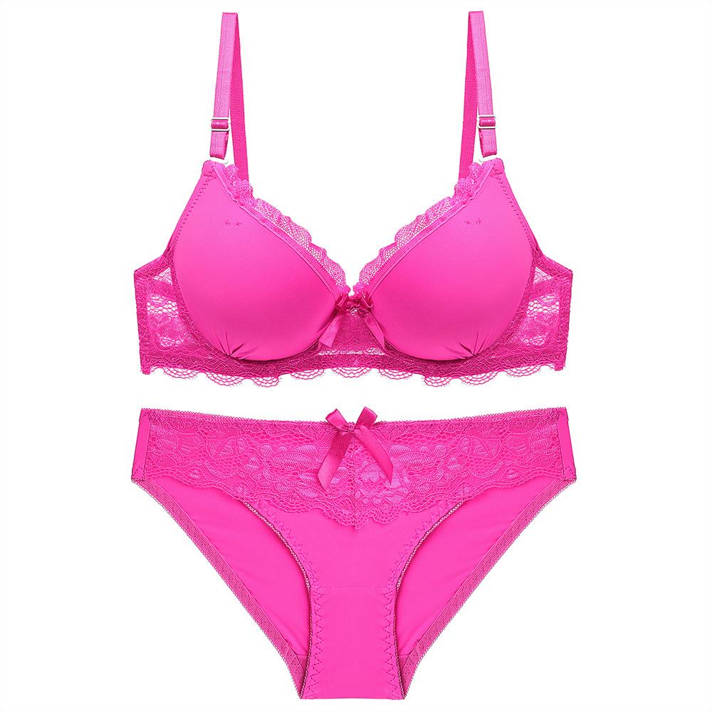 Plus Size Women Push-up Deep V Bra Sets Solid Brassiere Bra Sexy Panties Brief T-back Lingerie Underwear Set