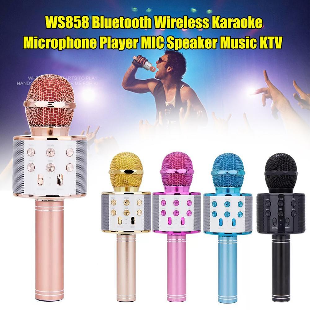 2021 amaozn dropshipping professional Karaoke Microphone Bt Wireless Speaker 858 Handheld KTV Music Player Singing Recorder Mic