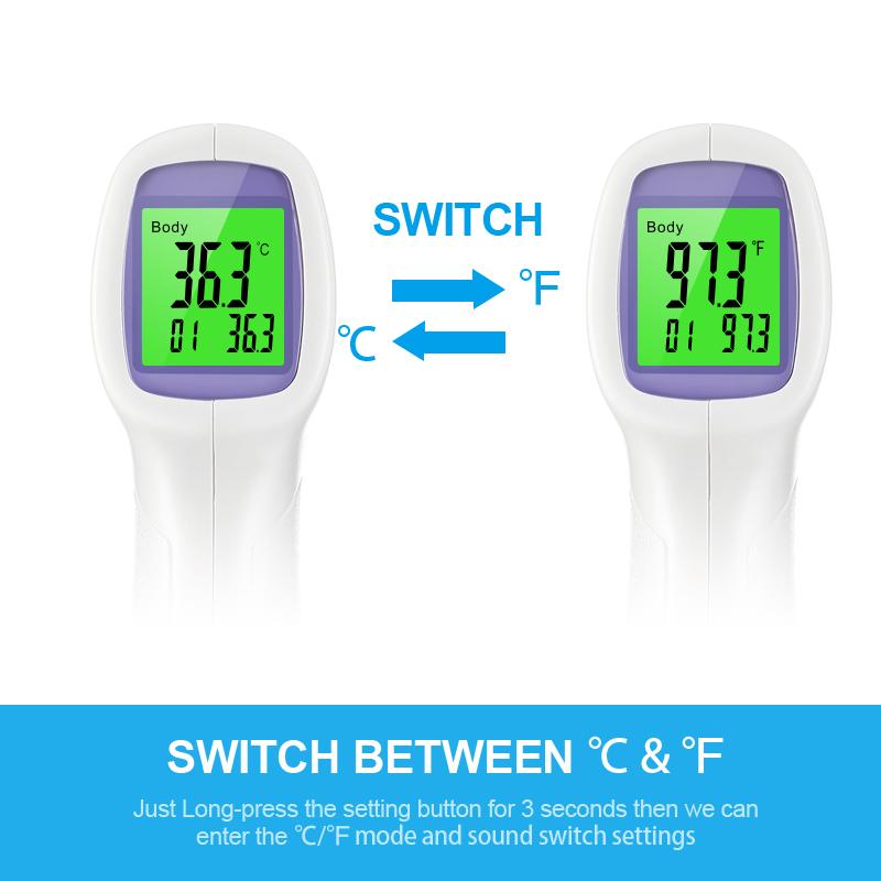 Горячая Распродажа температуры тела цифровой инфракрасный термометр-пистолет лихорадка измерения для взрослых и детей лоб бесконтактный инфракрасный ЖК дисплей ИК термометр