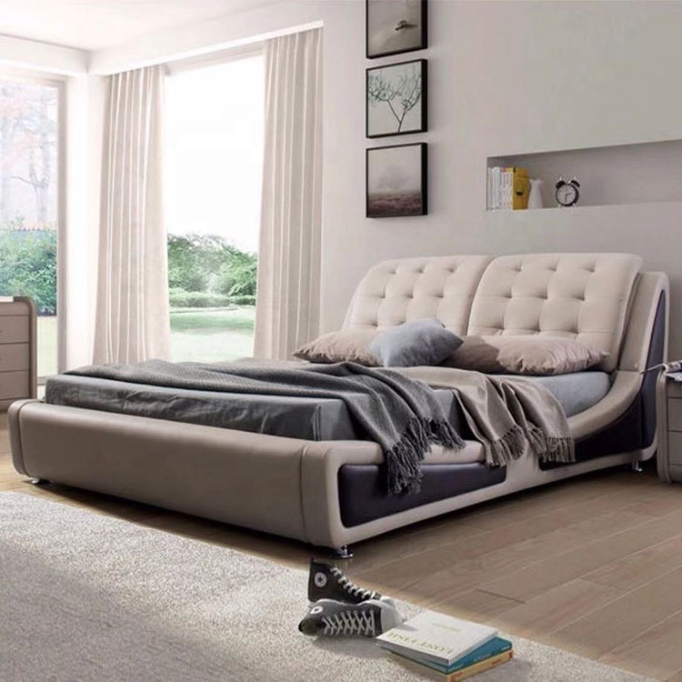 Hot sell modern luxury bedroom furniture tatami style bedside button tuft rice white double leather pu bed