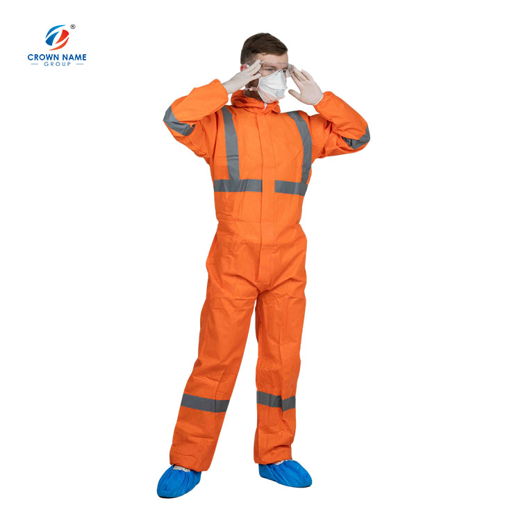 Orange Work Medical Disposable Hooded Microporous Coveralls With Reflective Tape - KingCare | KingCare.net