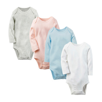 Wholesale Solid boy+ romper baby clothes new born Long Sleeve Kids Boys Jumpsuit baby girl clothes infant blank onesie