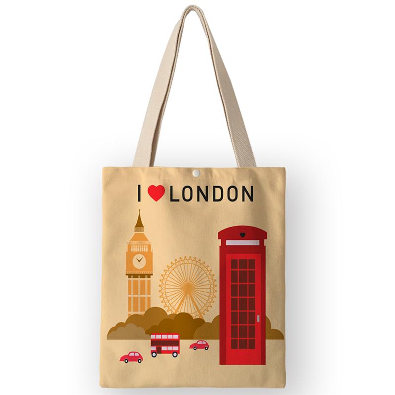 AKB01110 Vinatge, британский стиль, женские холщовые сумки, сумки, Мультяшные принты Лондона, сумки на плечо для покупок, путешествий(Китай)
