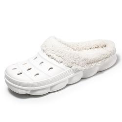 Hellosport Fur Clog Shoes Slippers Home Comfortable Winter Fur Bedroom Slippers Men Furry Indoor House Slippers Men