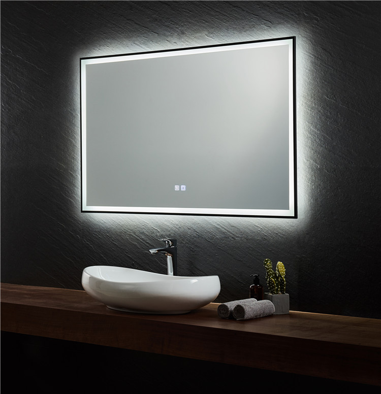 Hotel Bathroom Matt Black Steel Frame Led Mirrors Anti Fog Touch Screen Customize Elegant Bathroom Mirrors Buy Bathroom Mirrors Elegant Bathroom Mirrors Large Bathroom Vanity Mirrors Product On Alibaba Com