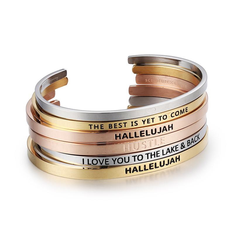 Европейский и американский популярный стиль резьба персонализированный индивидуальный браслет из нержавеющей стали DIY браслет женский браслет