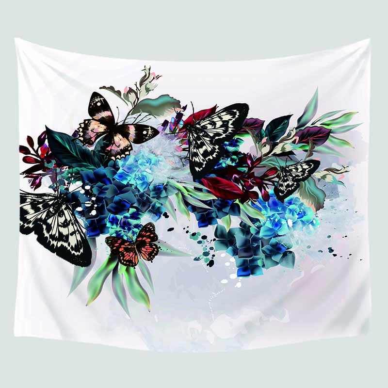 Natural color butterfly tapestry landscape printing big wall hangings cheap hanging bohemian mural decoration