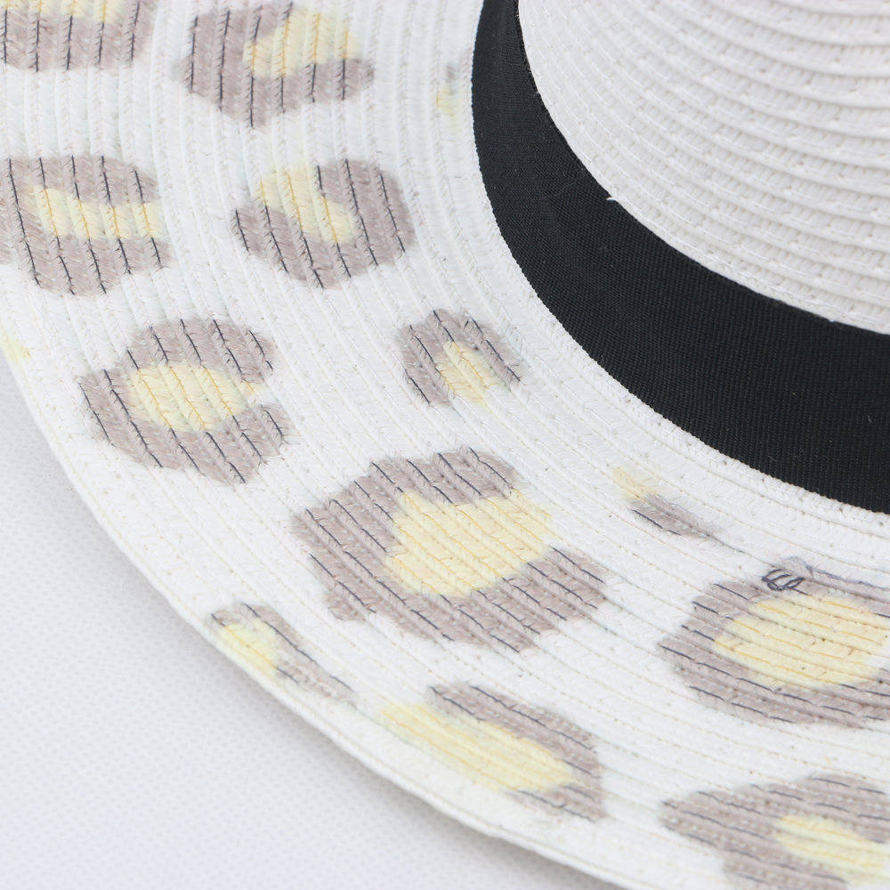 leopards printed cowboy straw hats bucket hat with band decoration for women and men