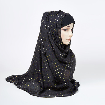 Wholesale Very Popular Cotton Viscose Hijab With White Stone Muslim Women Scarves Hijabs