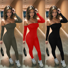Romper TOB 2020 Winter Sexy Long Sleeve Off Shoulder High Waist Jumpsuit New Amazon Nightclub Romper AM891