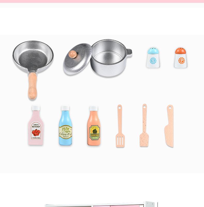 Детская деревянная игрушка, Набор для кухни розового цвета с имитацией пуговиц и циркулирующей системой воды для детей, кулинарные Игрушки для девочек