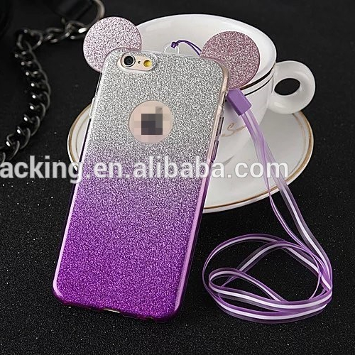 New 3d Mickey Minnie Mouse Ears Tpu Glitter Gradient Case For Iphone 7 6 6s Plus 5 5s Se 4 4s With Hang Rope Phone Cover Coque - Buy 3d Mickey Minnie ...