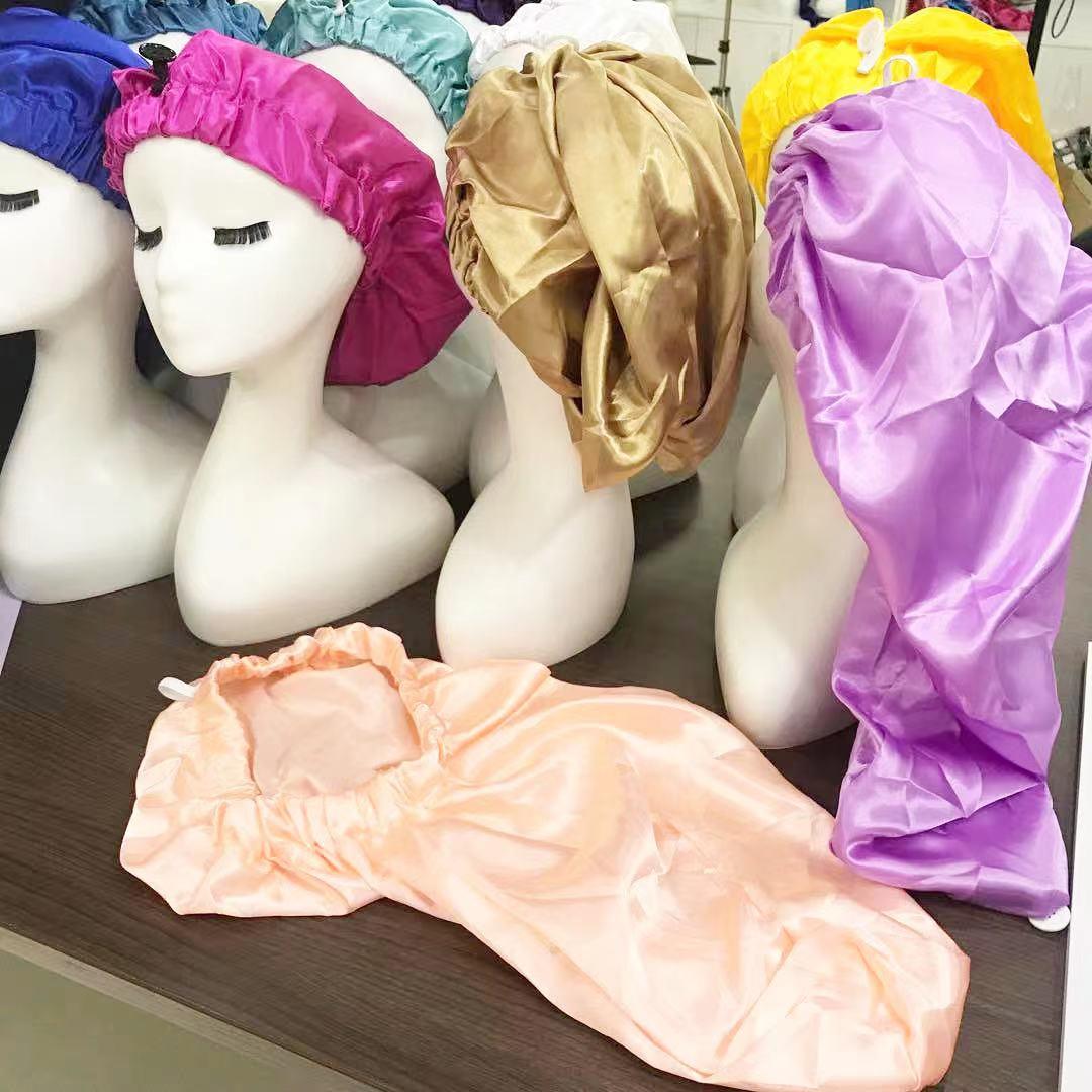 fashionable extra large bonnet long bonnets for braids extended bonnet with button