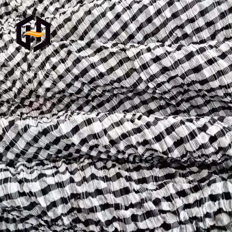 Дышащая эластичная ткань из спандекса в полоску, высокая эластичность, со складками, креп-ткань для женской одежды
