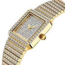 MISSFOX алмазные часы для женщин люксовый бренд женские Золотые Квадратные наручные часы минималистичные аналоговые кварцевые Movt уникальные ...(Китай)