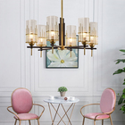 Energy Saving Lamp Modern New Home Hotel Energy Saving Round Gold Metal Crystal Pendant Lamp Glass Chandelier
