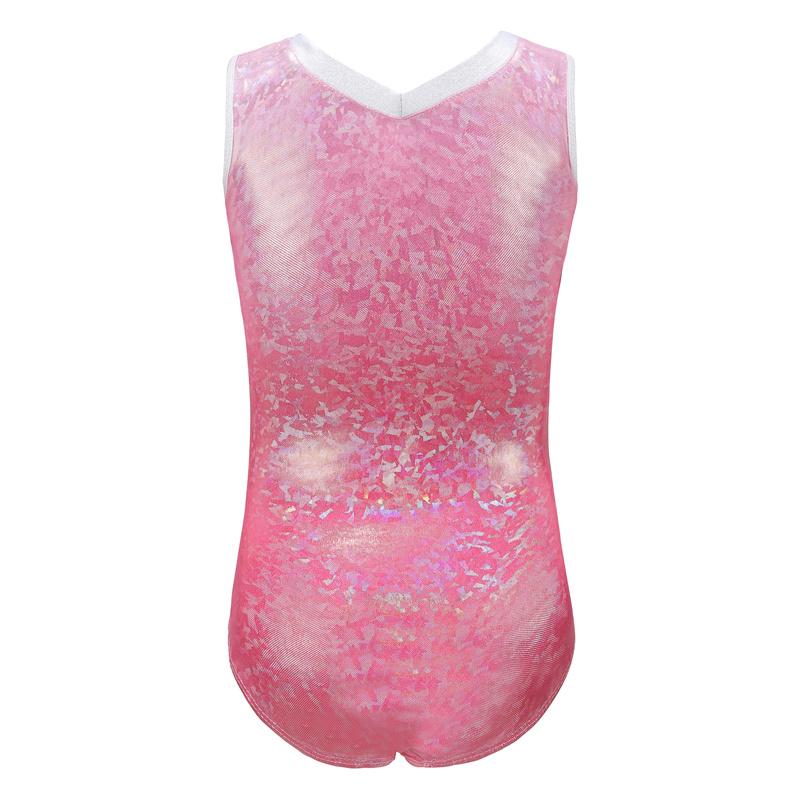 Высокое качество, дешевые блестящие металлические детские майки для девочек, без рукавов, розовые, синие, фиолетовые, гимнастические трико