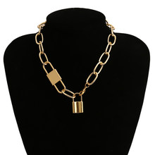 Женское колье с замком в стиле стимпанк, готическое ожерелье с замком для влюбленных, ожерелье с алюминиевой цепочкой, лучший подарок для па...(Китай)