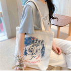 Promotional DIY Women Canvas Shoulder Bag Female Vintage Cotton Cloth Handbag Tote bag Eco Simple Shopping Bag For Girls gift