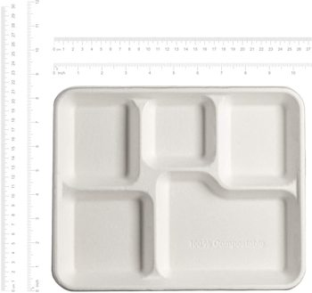 Eco Friendly Biodegradable Disposable Sugarcane Bagasse Five Compartment Square Tray Disposable Plates