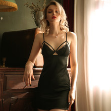 Черная ночная рубашка, ночное белье для женщин, ночное белье, летняя майка с открытой спиной, на бретельках, глубокий v-образный вырез, Горяча...(Китай)