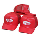 New fashion custom logo embroidery red leather mesh trucker hats wholesale