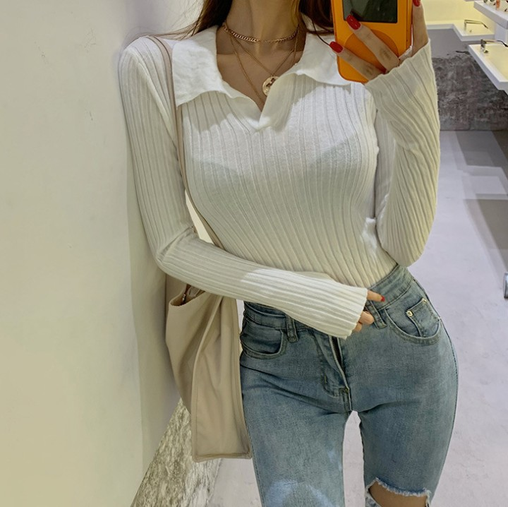 Runwaylover E311 fashion sexy ladies crochet polo neck sexy knitted top