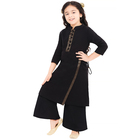 New Arrival Children's Clothing Indian Kids Traditional Wear Girls Comforter Black Solid Kurta With palazzos Set