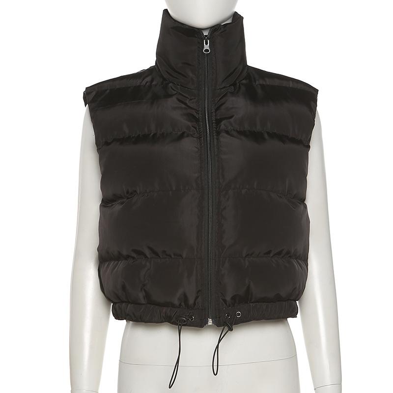 solid black warm lightweight Cropped vest coat women sleeveless winter puffer vest casual Outerwear high collar down vest jacket