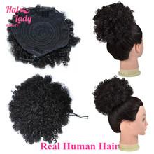 100% человеческие волосы пучок для наращивания на шнурке шиньоны волосы кусок парик волнистые кудрявые грязные волосы не Реми бразильский ко...(Китай)