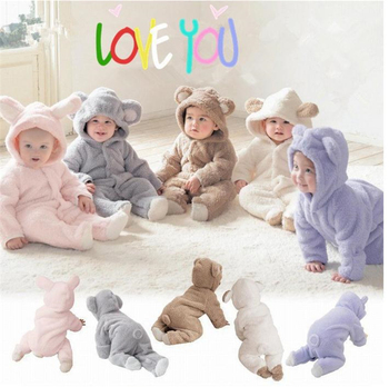 New Born Baby Clothes Winter Romper For Boys Animal Fleece Soft Thicken Baby Girl Romper Hooded Jumpsuit