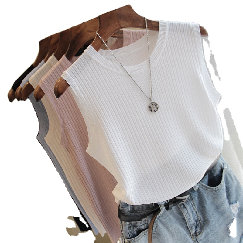 knitted vests with round collar sleeveless casual slim shirt
