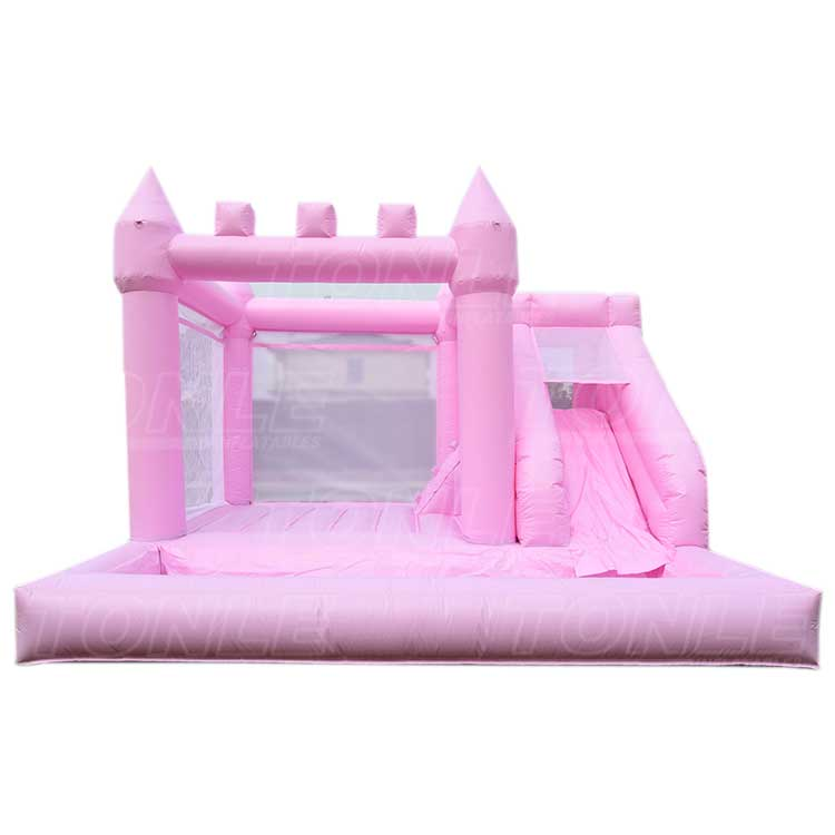 white inflatable bounce house jumper castle bouncer with slide for wedding