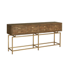 Vintage antique gold metal reclaimed wood console table