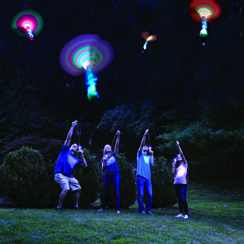 Bamboo Dragonfly with light Shooting Flying parachute Sky UFO Outdoor night game toy for kid children
