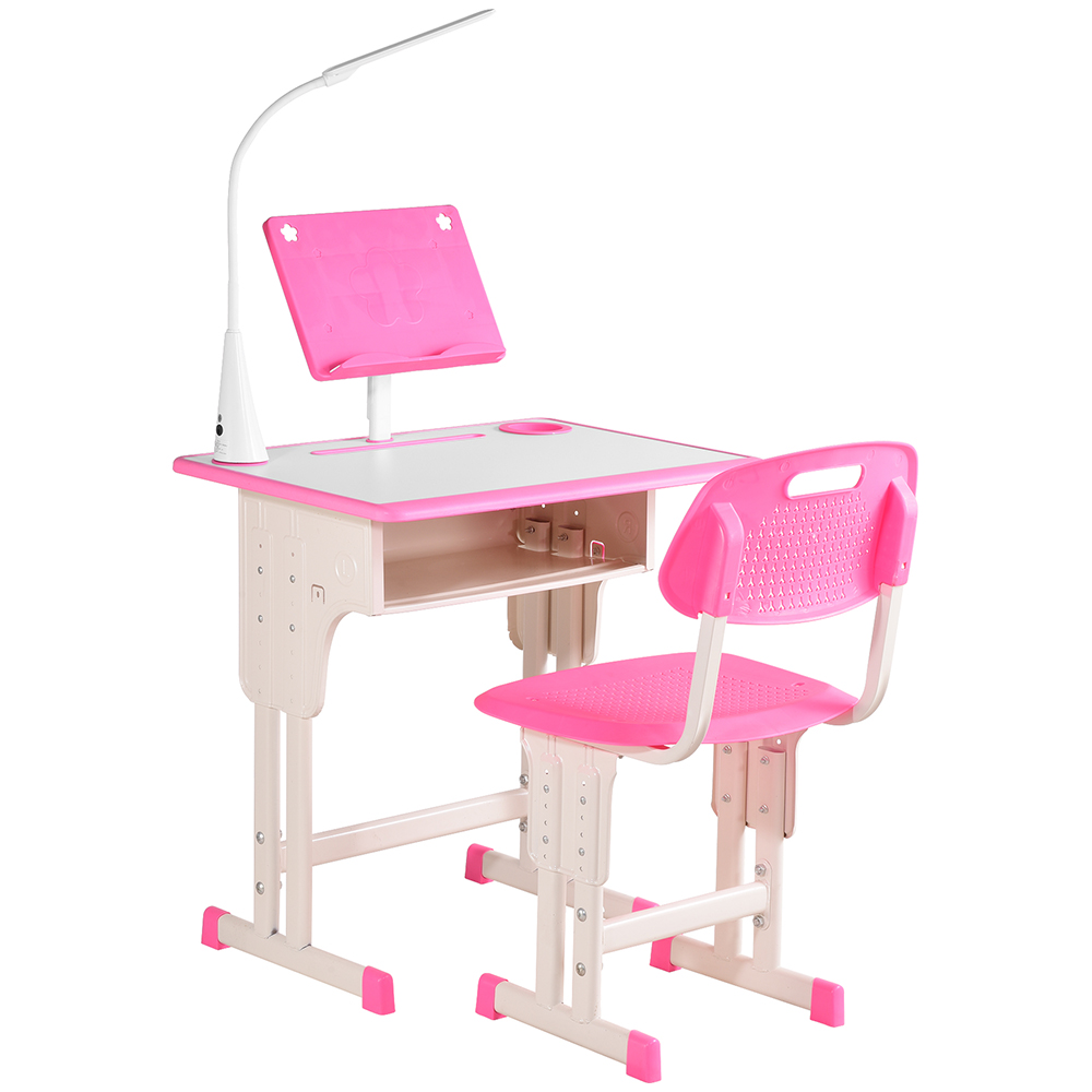 Children drawing writting with incandescent kids study desk chair set