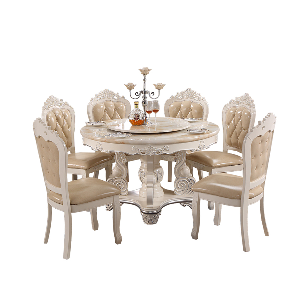 Modern Luxury Wood Carving Round Dining Table With Rotating Centre ...