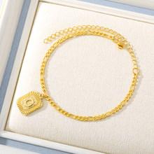 Оригинальный браслет золотого цвета, браслет для женщин из нержавеющей стали, ножной браслет, цепочка с буквами(Китай)