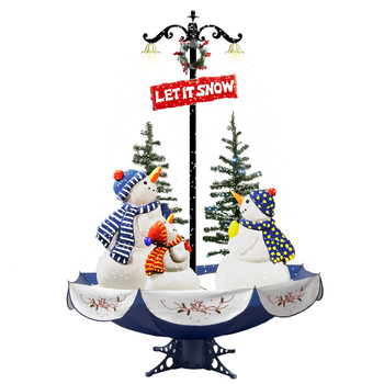 factory custom 170cm electric snowing Led musical snowman family umbrella shaped christmas tree with umbrella base