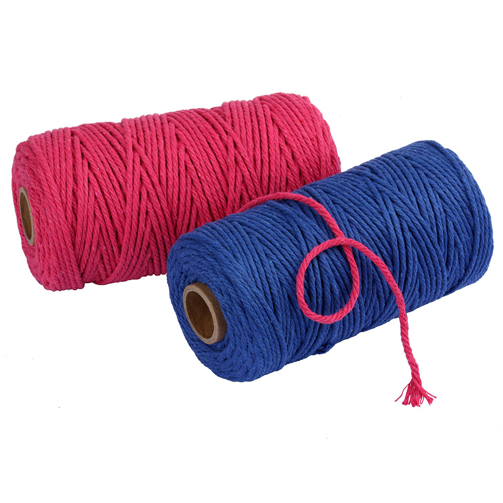 100% natural Cotton Macrame Rope 4 Strands Twisted Cotton Cord for Handmade Plant Hanger Wall Hanging