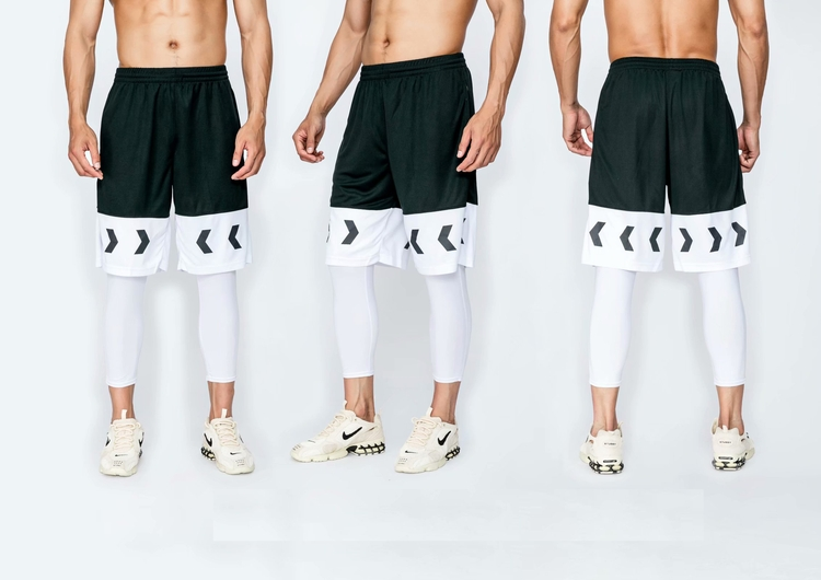Hot sale modern mens custom wholesale black and yellow basketball shorts