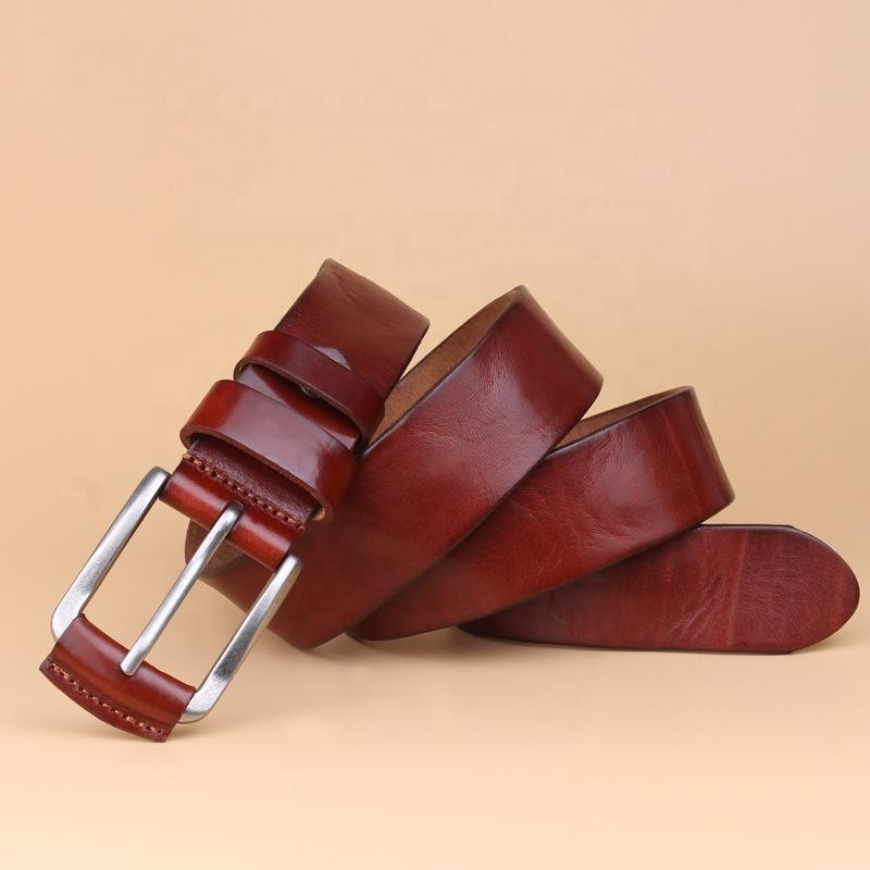 Men Genuine Leather Dress Luxury Belt with Single Prong Buckle