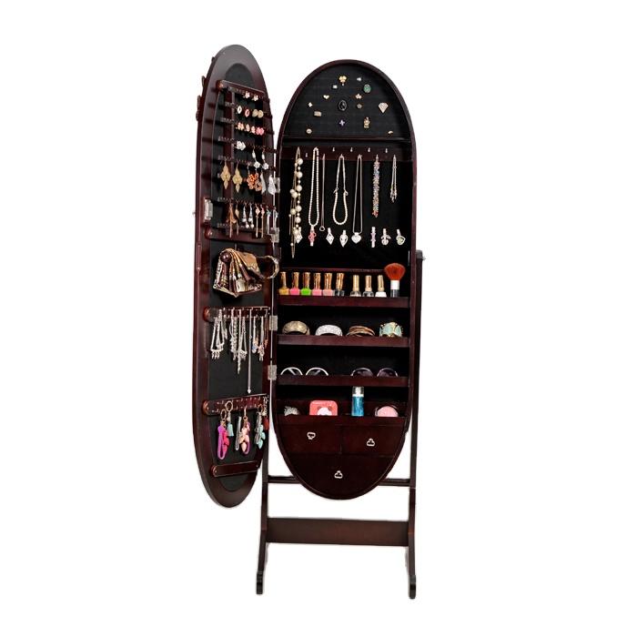 Para a família Brown noble oval jogo de quarto de madeira armário com espelho de jóias