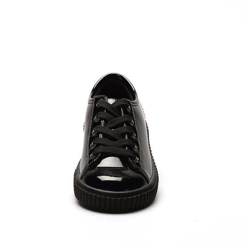 Черная лакированная прочная полиуретановая повседневная обувь унисекс для девочек и мальчиков школьная обувь для прогулок со шнуровкой