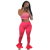 FM-NK152 Hot style striped high waist flare pants strapless crop top women two pieces set