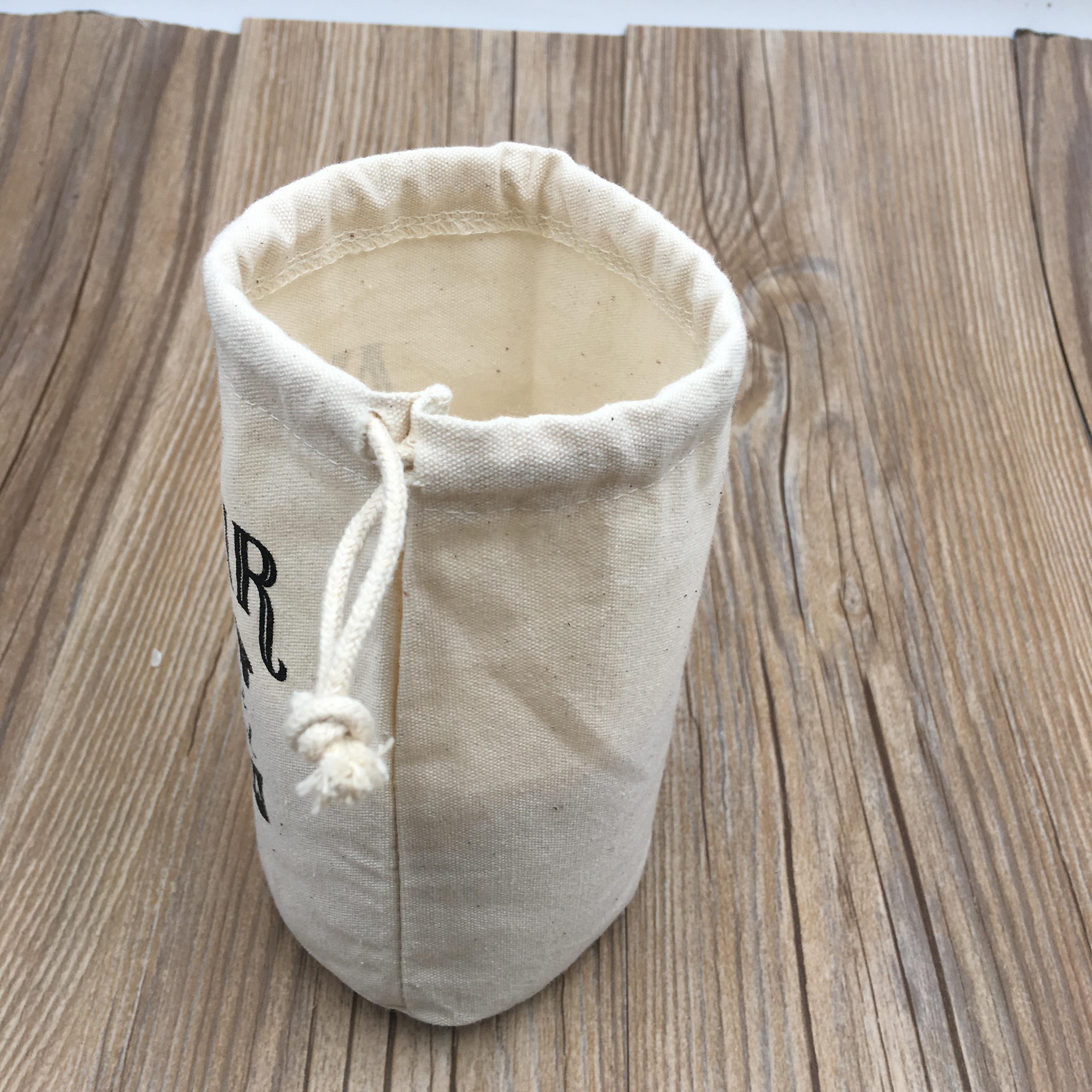 Льняной мешок на шнурке с круглым дном для банки