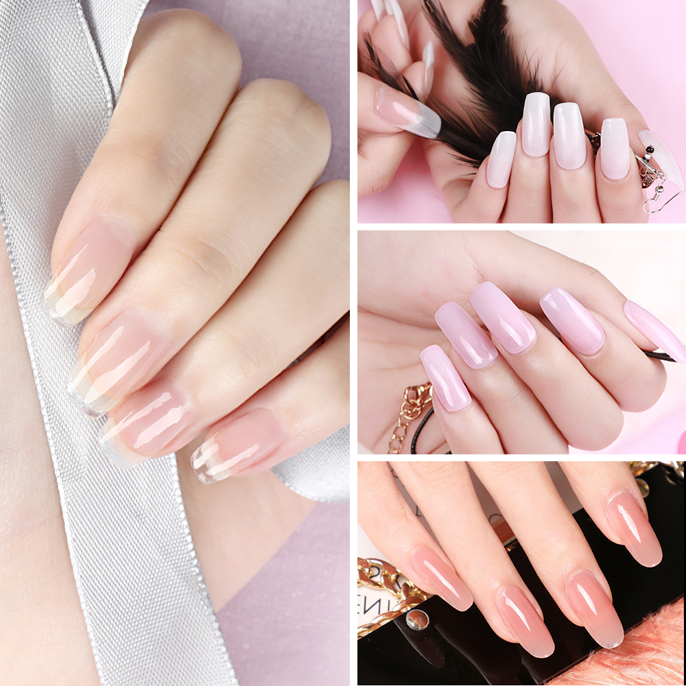 Poly Nail Gel Kit 15ML Extension Nail Acryl gel Nude 6 Colors With Slip Solution Stater Kit for Beginner Nail Manicure Kit
